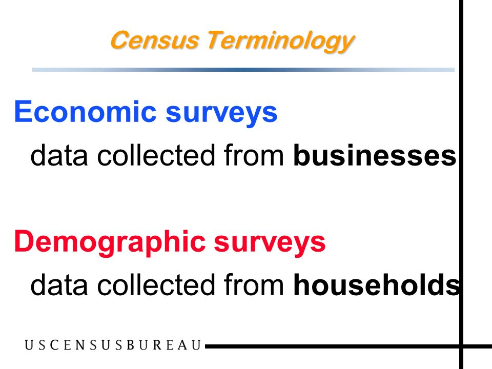 3 Economic surveys data collected from businesses Demographic surveys data collected from households Census Terminology