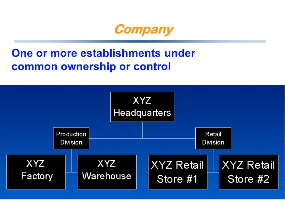 Company One or more establishments under common ownership or control