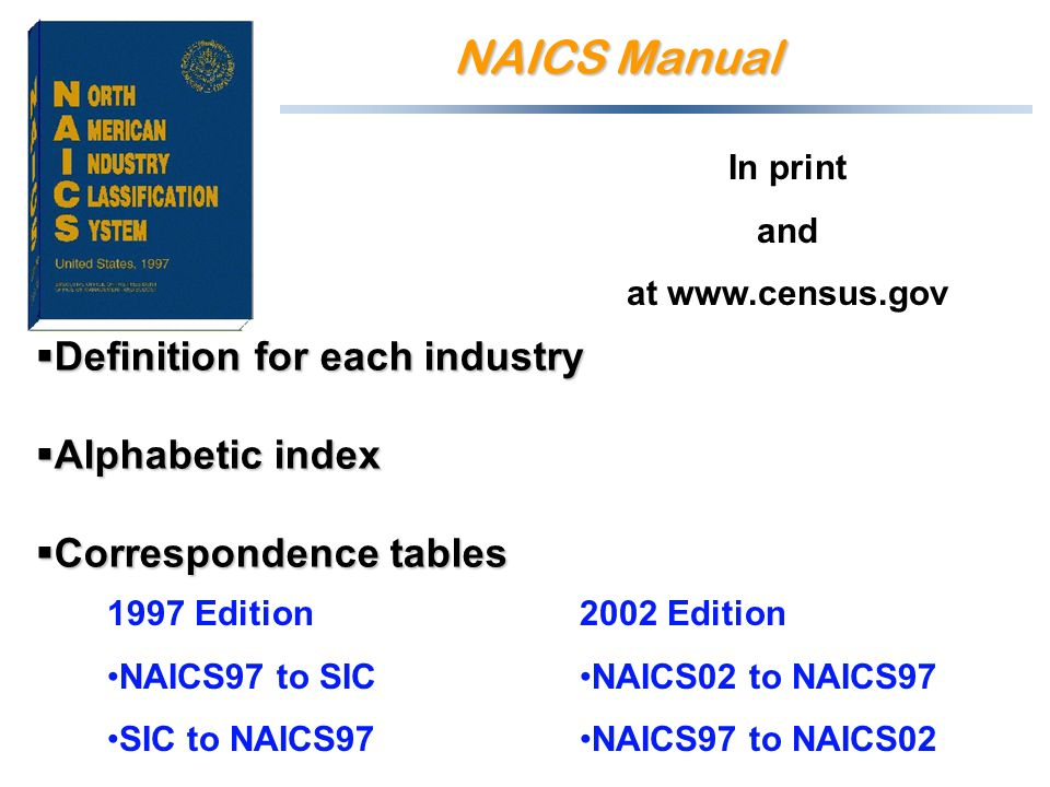 NAICS Manual Definition for each industry Definition for each industry Alphabetic index Alphabetic index Correspondence tables Correspondence tables 2002 Edition NAICS02 to NAICS97 NAICS97 to NAICS02 1997 Edition NAICS97 to SIC SIC to NAICS97 In print and at www.census.gov