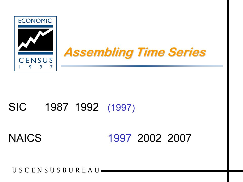 35 Assembling Time Series SIC 1987 1992 (1997) NAICS 1997 2002 2007
