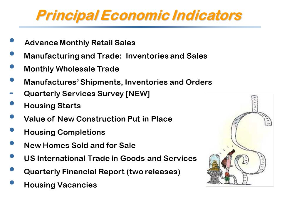 Advance Monthly Retail Sales Manufacturing and Trade: Inventories and Sales Monthly Wholesale Trade Manufactures Shipments, Inventories and Orders - Quarterly Services Survey [NEW] Housing Starts Value of New Construction Put in Place Housing Completions New Homes Sold and for Sale US International Trade in Goods and Services Quarterly Financial Report (two releases) Housing Vacancies Principal Economic Indicators