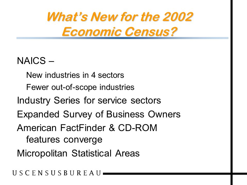 73 Whats New for the 2002 Economic Census.