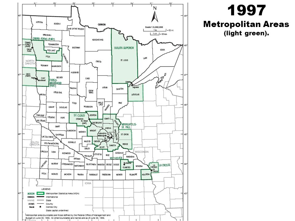 1997 Metropolitan Areas (light green).