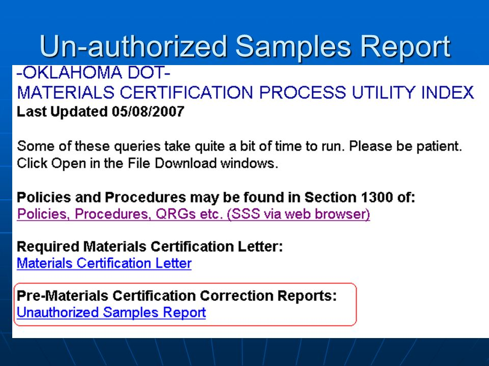 Un-authorized Samples Report