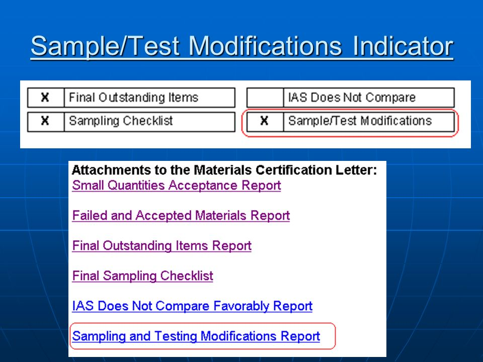 Sample/Test Modifications Indicator