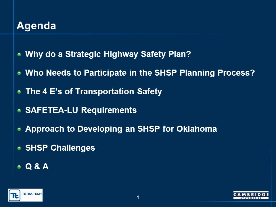 Oklahoma Strategic Highway Safety Plan presented to Oklahoma Department of Transportation presented by Sam Lawton, Cambridge Systematics, Inc.