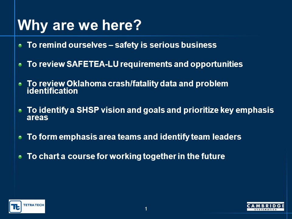 Oklahoma Strategic Highway Safety Plan – Meeting Objectives presented to SHSP Leadership Group SHSP Working Group presented by Dawn Sullivan, Oklahoma Department of Transportation Oklahoma City, OK February 21, 2007