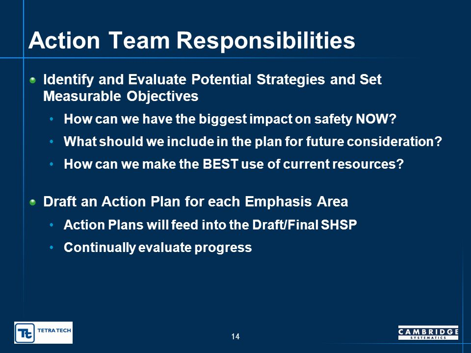 13 Selecting SHSP Emphasis Areas (cont.) Our objective is to reduce fatalities and injuries.