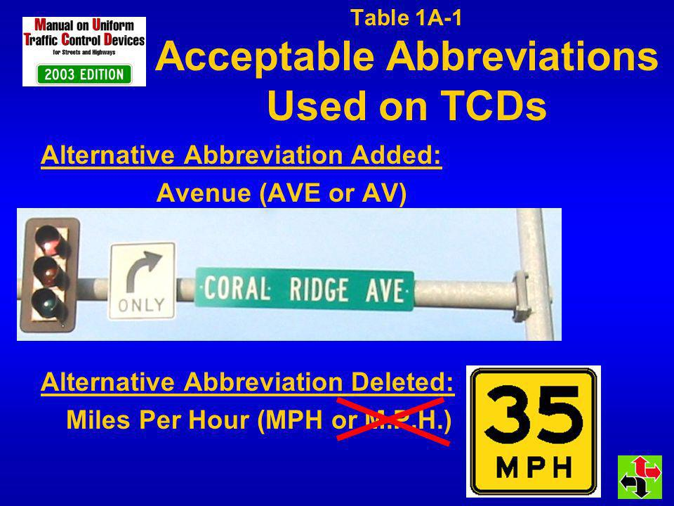 Table 1A-1 Acceptable Abbreviations Used on TCDs Alternative Abbreviation Added: Avenue (AVE or AV) Alternative Abbreviation Deleted: Miles Per Hour (MPH or M.P.H.)