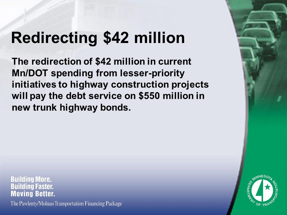 Redirecting $42 million The redirection of $42 million in current Mn/DOT spending from lesser-priority initiatives to highway construction projects will pay the debt service on $550 million in new trunk highway bonds.