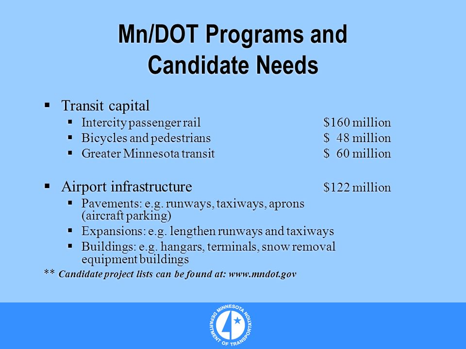 Mn/DOT Programs and Candidate Needs Transit capital Intercity passenger rail$160 million Bicycles and pedestrians$ 48 million Greater Minnesota transit$ 60 million Airport infrastructure $122 million Pavements: e.g.