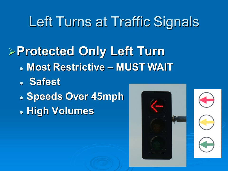 Left Turns at Traffic Signals Protected Only Left Turn Protected Only Left Turn Most Restrictive – MUST WAIT Most Restrictive – MUST WAIT Safest Safest Speeds Over 45mph Speeds Over 45mph High Volumes High Volumes