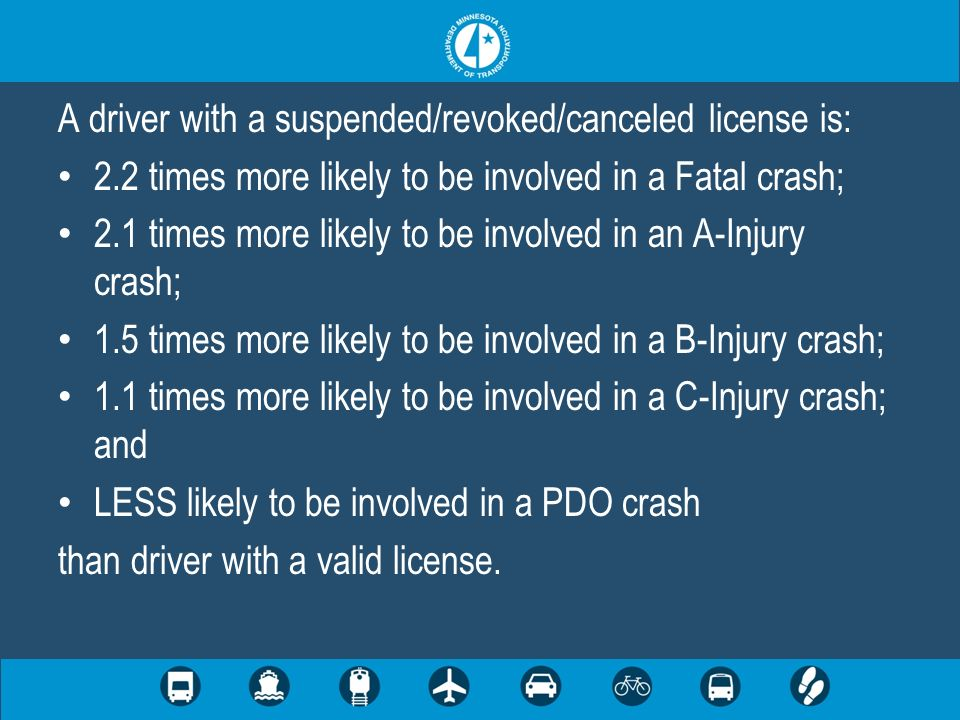 A driver with a suspended/revoked/canceled license is: 2.2 times more likely to be involved in a Fatal crash; 2.1 times more likely to be involved in an A-Injury crash; 1.5 times more likely to be involved in a B-Injury crash; 1.1 times more likely to be involved in a C-Injury crash; and LESS likely to be involved in a PDO crash than driver with a valid license.