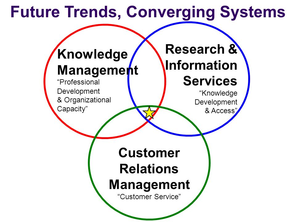 Future Trends, Converging Systems Knowledge Management Professional Development & Organizational Capacity Research & Information Services Knowledge Development & Access Customer Relations Management Customer Service