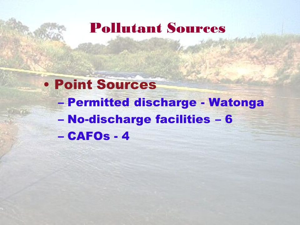 Pollutant Sources Point Sources –Permitted discharge - Watonga –No-discharge facilities – 6 –CAFOs - 4