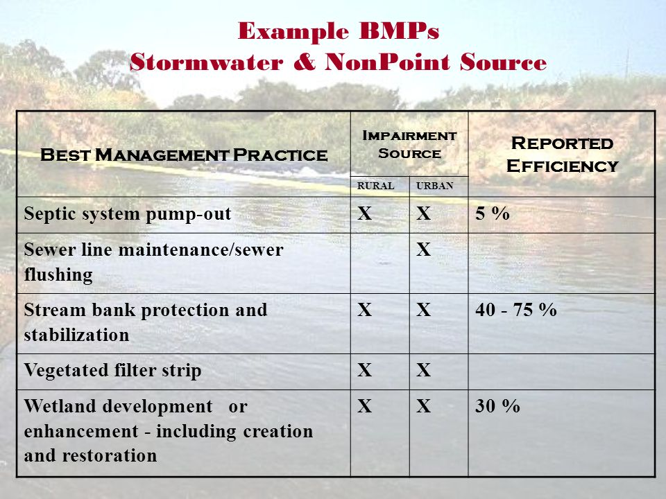 Example BMPs Stormwater & NonPoint Source Best Management Practice Impairment Source Reported Efficiency RURALURBAN Septic system pump-outXX5 % Sewer line maintenance/sewer flushing X Stream bank protection and stabilization XX40 - 75 % Vegetated filter stripXX Wetland development or enhancement - including creation and restoration XX30 %