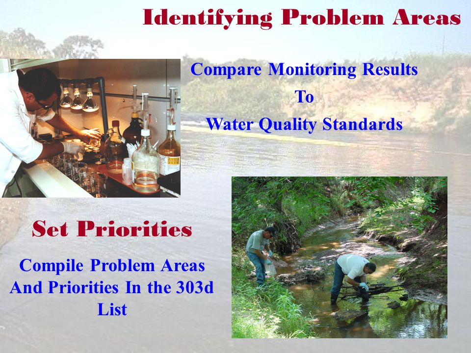 Identifying Problem Areas Compare Monitoring Results To Water Quality Standards Set Priorities Compile Problem Areas And Priorities In the 303d List