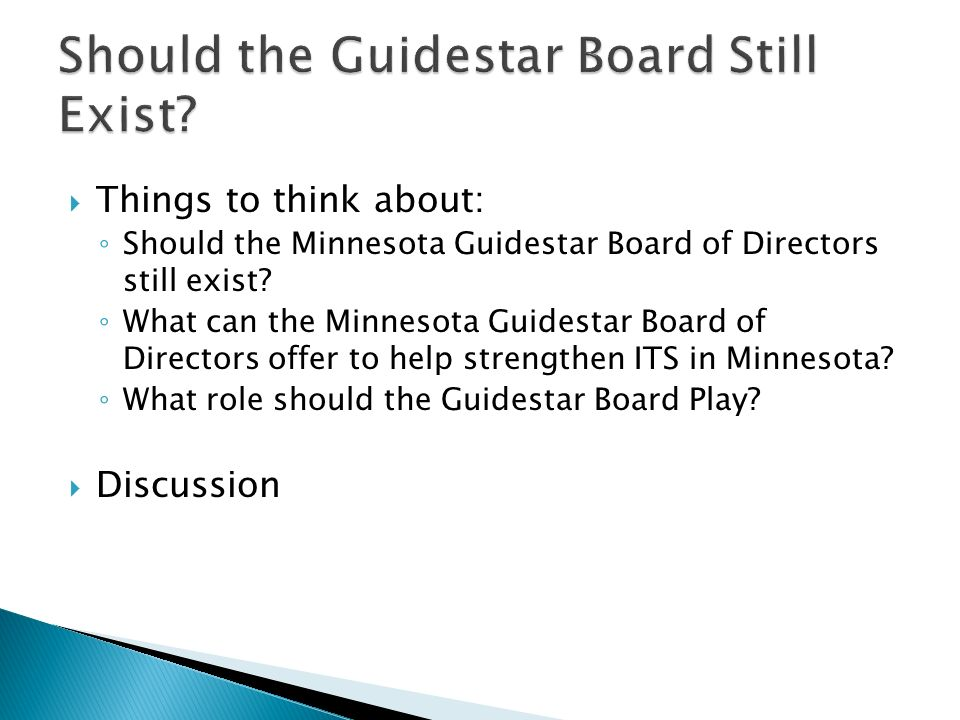Things to think about: Should the Minnesota Guidestar Board of Directors still exist.