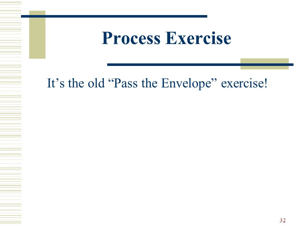 32 Process Exercise Its the old Pass the Envelope exercise!