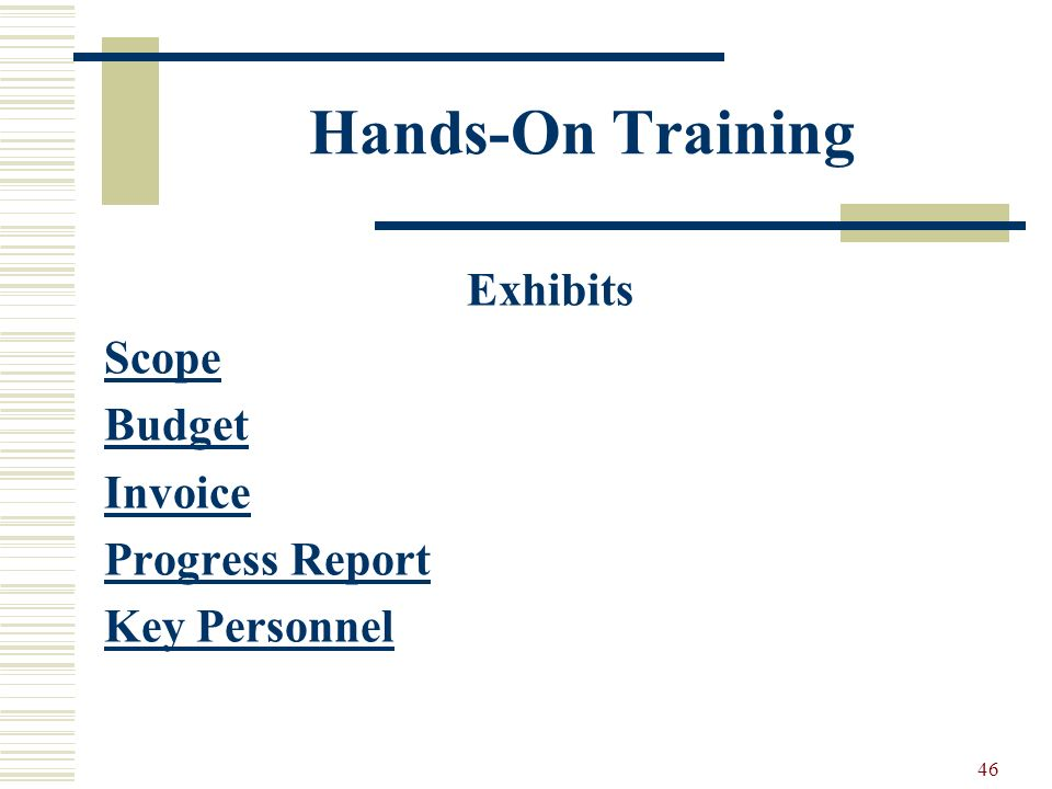 46 Hands-On Training Exhibits Scope Budget Invoice Progress Report Key Personnel