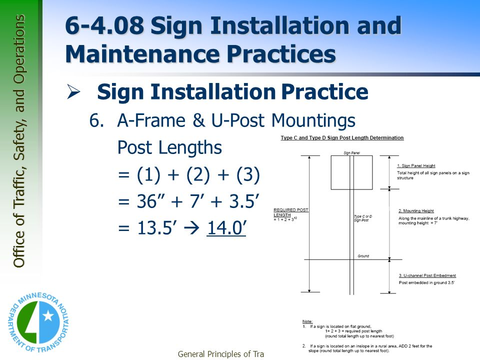 Office of Traffic, Safety, and Operations General Principles of Traffic Signing42 6-4.08 Sign Installation and Maintenance Practices Sign Installation Practice 6.A-Frame & U-Post Mountings Post Lengths = (1) + (2) + (3) = 36 + 7 + 3.5 = 13.5 14.0