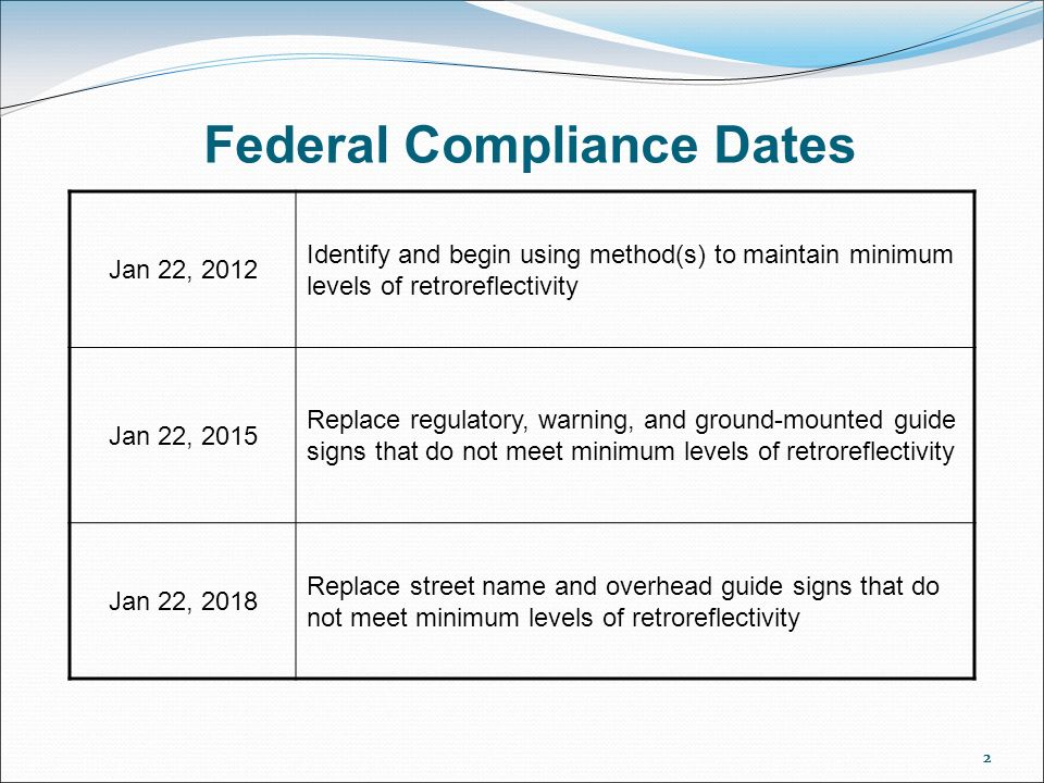 22 Federal Compliance Dates 2 Jan 22, 2012 Identify and begin using method(s) to maintain minimum levels of retroreflectivity Jan 22, 2015 Replace regulatory, warning, and ground-mounted guide signs that do not meet minimum levels of retroreflectivity Jan 22, 2018 Replace street name and overhead guide signs that do not meet minimum levels of retroreflectivity