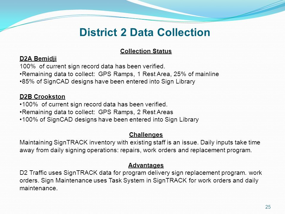 25 District 2 Data Collection Collection Status D2A Bemidji 100% of current sign record data has been verified.