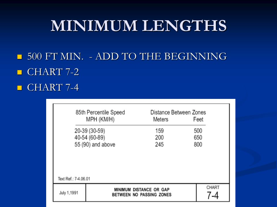 MINIMUM LENGTHS 500 FT MIN. - ADD TO THE BEGINNING 500 FT MIN.