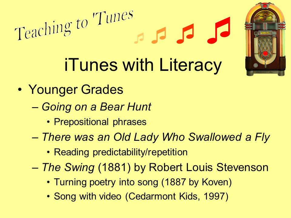 iTunes with Literacy Younger Grades –Going on a Bear Hunt Prepositional phrases –There was an Old Lady Who Swallowed a Fly Reading predictability/repetition –The Swing (1881) by Robert Louis Stevenson Turning poetry into song (1887 by Koven) Song with video (Cedarmont Kids, 1997)