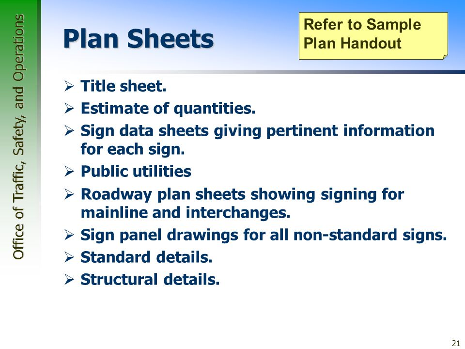 Office of Traffic, Safety, and Operations 21 Plan Sheets Title sheet.