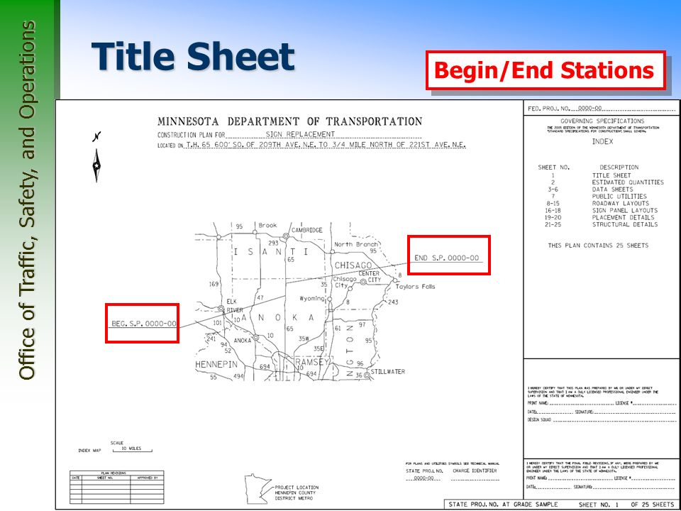 Office of Traffic, Safety, and Operations 24 Title Sheet Index Map Begin/End Stations