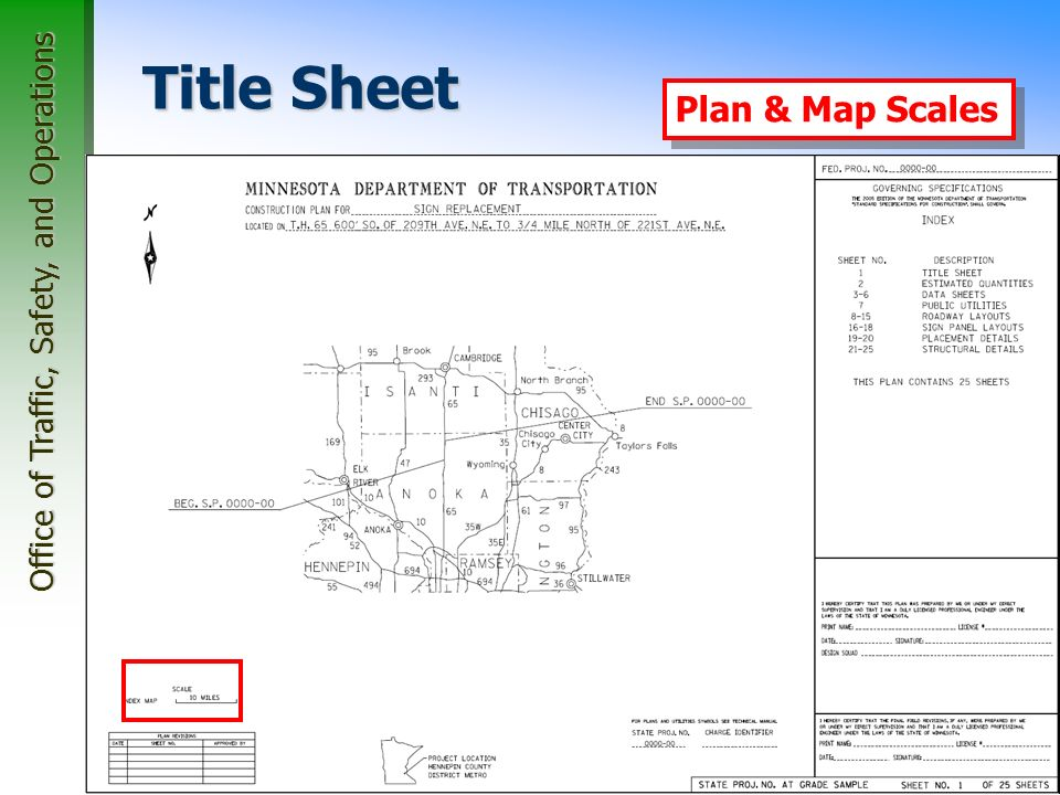 Office of Traffic, Safety, and Operations 25 Title Sheet Index Map Plan & Map Scales