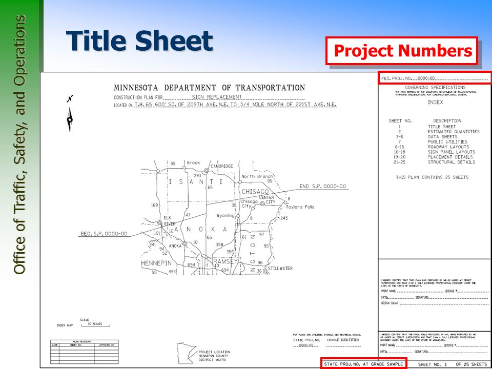 Office of Traffic, Safety, and Operations 27 Title Sheet Index Map Project Numbers