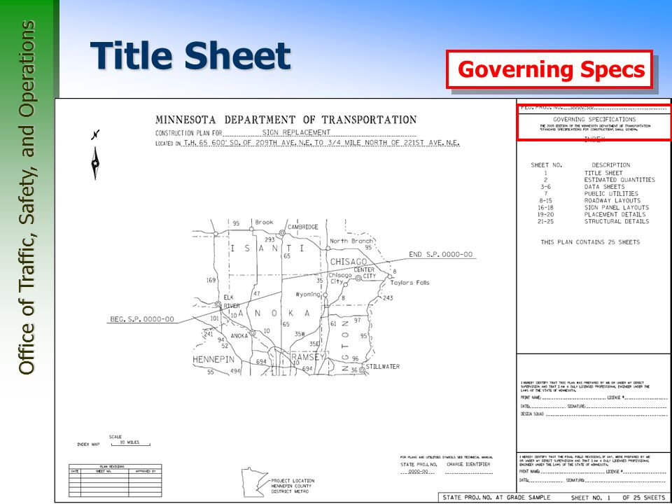 Office of Traffic, Safety, and Operations 28 Title Sheet Index Map Governing Specs