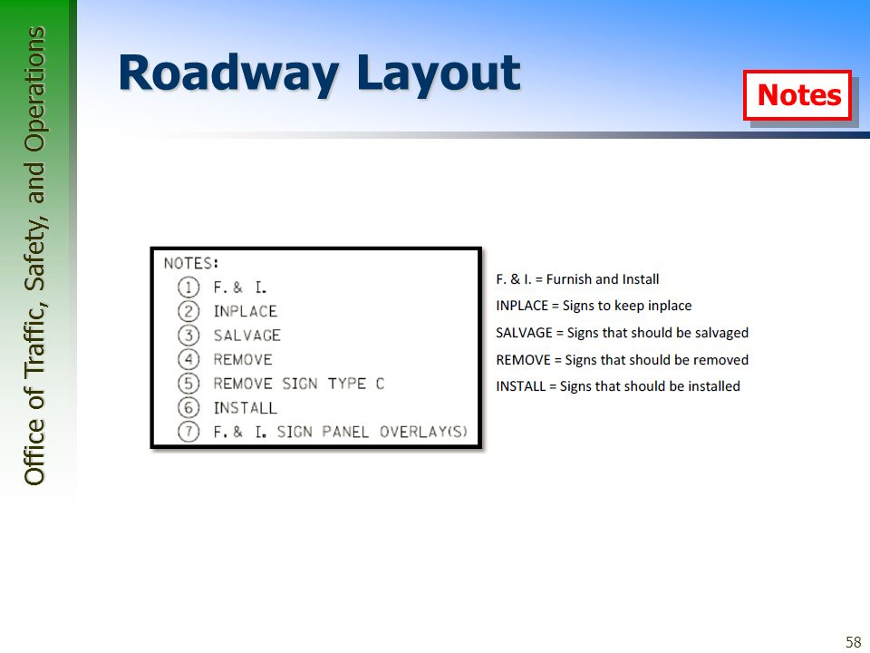 Office of Traffic, Safety, and Operations 58 Roadway Layout Notes
