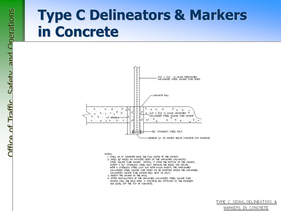Office of Traffic, Safety, and Operations 66 Type C Delineators & Markers in Concrete