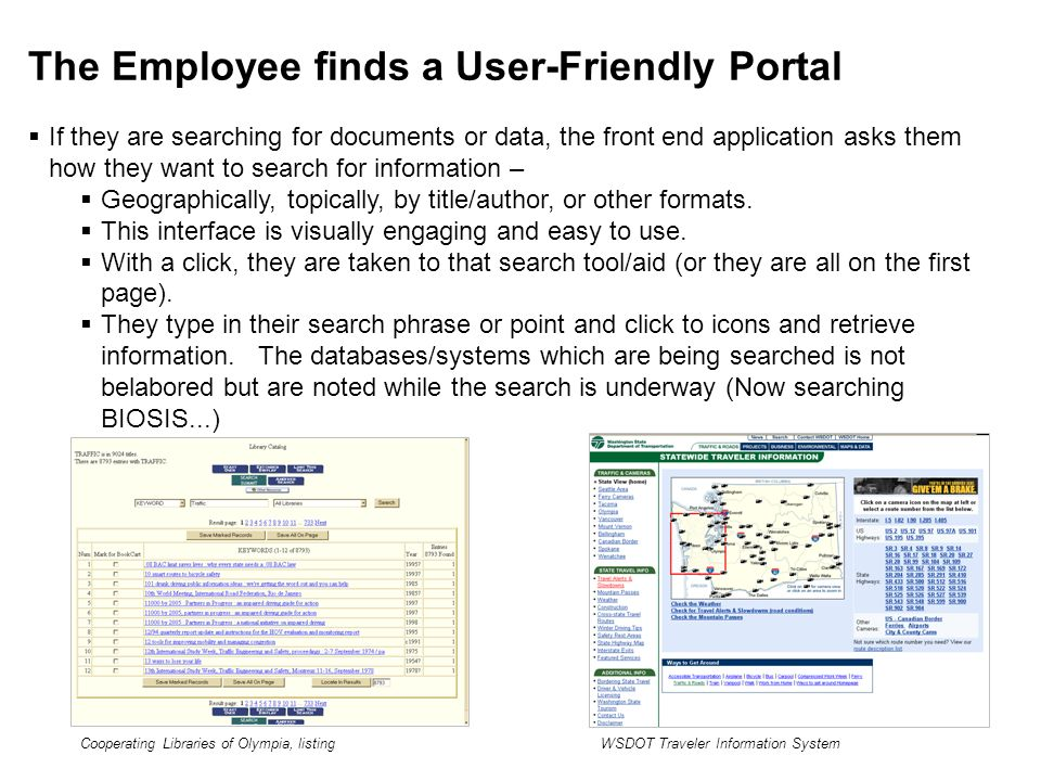 The Employee finds a User-Friendly Portal If they are searching for documents or data, the front end application asks them how they want to search for information – Geographically, topically, by title/author, or other formats.