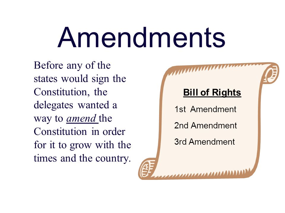 Amendments Before any of the states would sign the Constitution, the delegates wanted a way to amend the Constitution in order for it to grow with the times and the country.