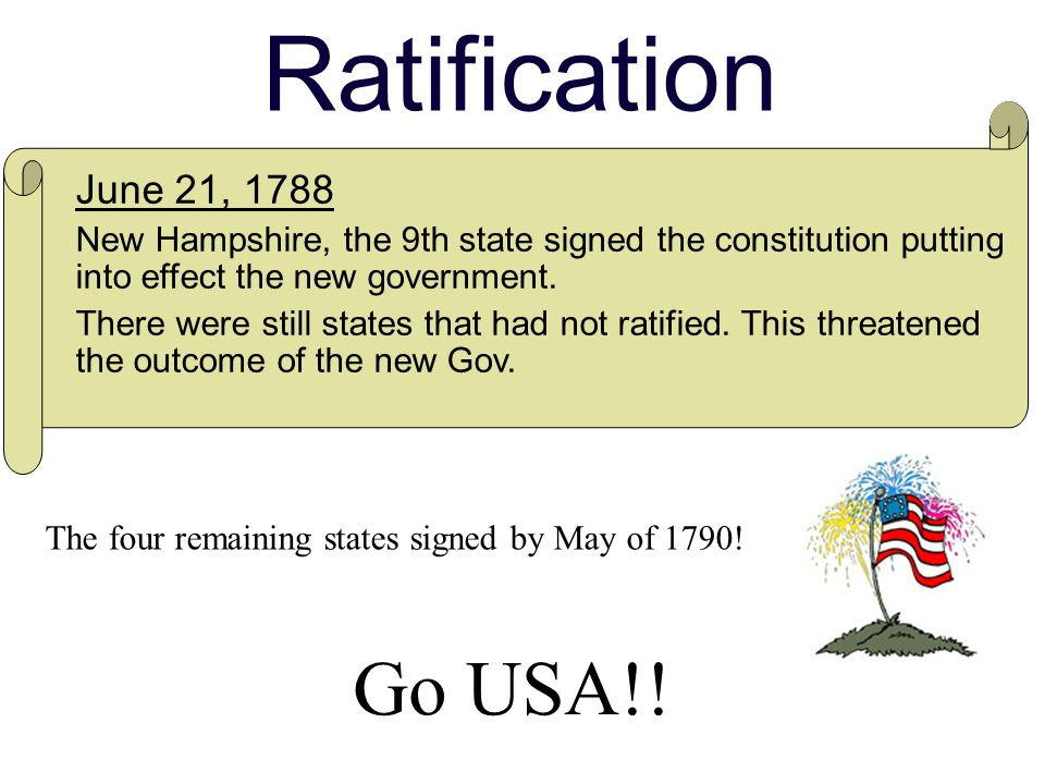 Ratification The four remaining states signed by May of 1790.