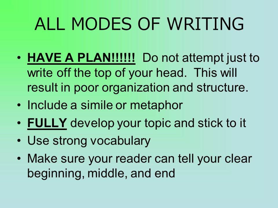 ALL MODES OF WRITING HAVE A PLAN!!!!!. Do not attempt just to write off the top of your head.