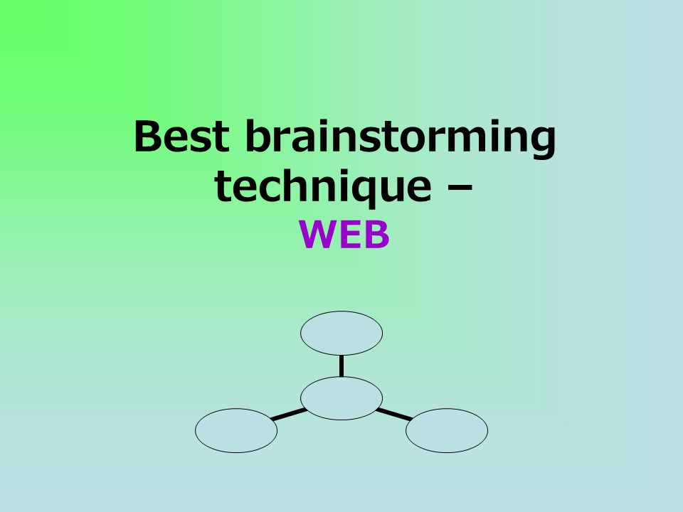 Best brainstorming technique – WEB