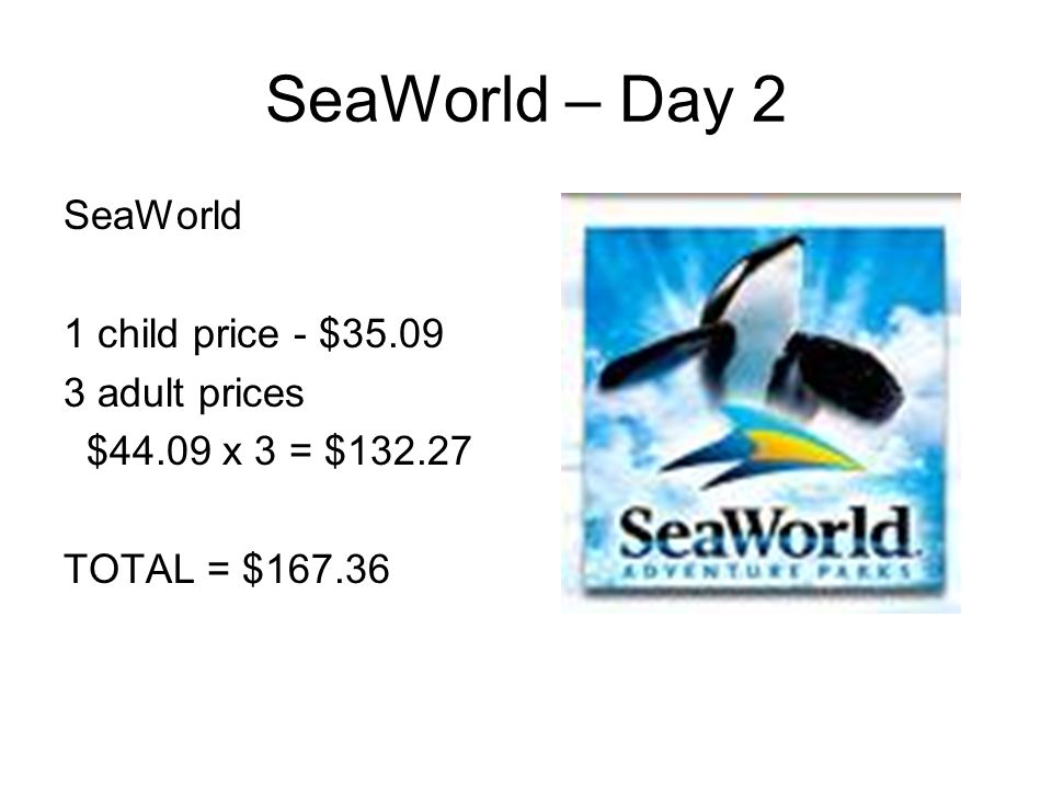 SeaWorld – Day 2 SeaWorld 1 child price - $35.09 3 adult prices $44.09 x 3 = $132.27 TOTAL = $167.36