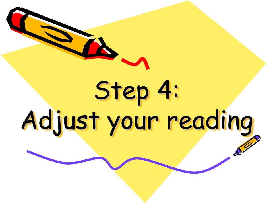 Step 4: Adjust your reading