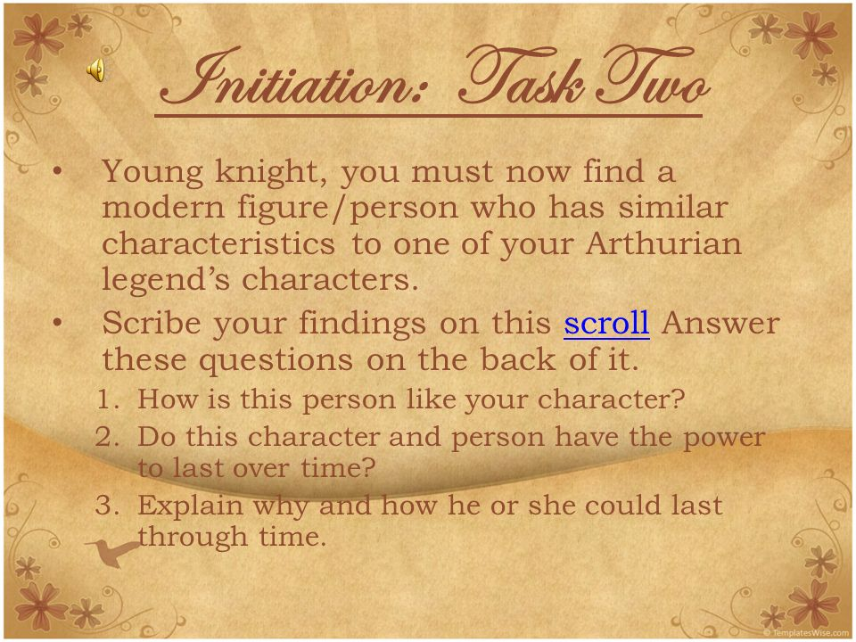 Initiation: Task Two Young knight, you must now find a modern figure/person who has similar characteristics to one of your Arthurian legends characters.
