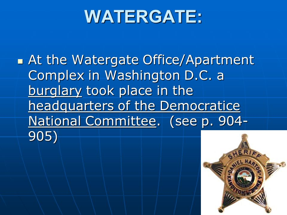 WATERGATE: At the Watergate Office/Apartment Complex in Washington D.C.