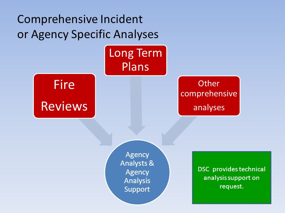 Comprehensive Incident or Agency Specific Analyses Agency Analysts & Agency Analysis Support Fire Reviews Long Term Plans Other comprehensive analyses DSC provides technical analysis support on request.