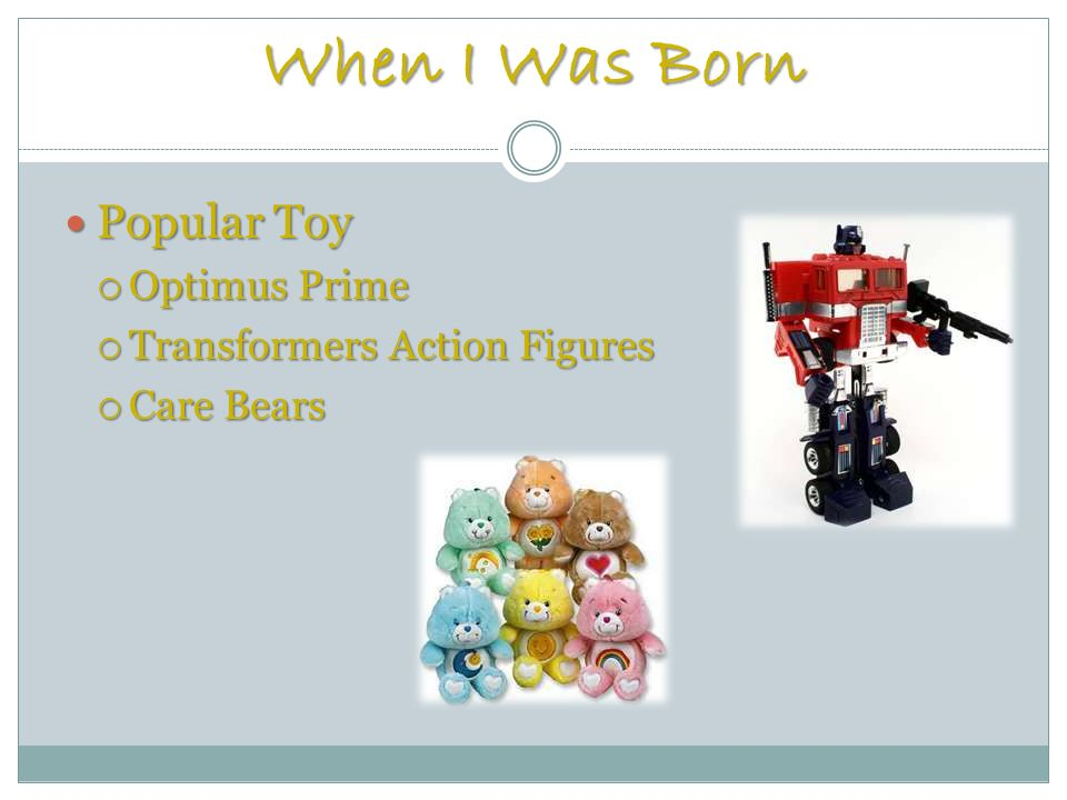 When I Was Born Popular Toy Popular Toy Optimus Prime Optimus Prime Transformers Action Figures Transformers Action Figures Care Bears Care Bears