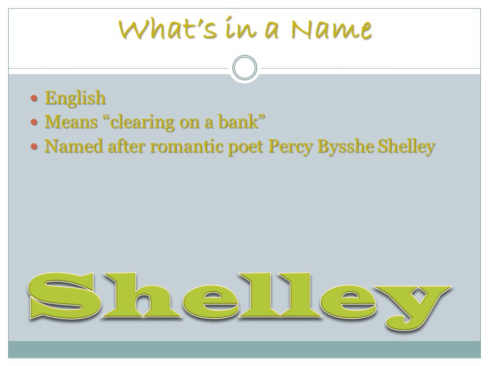 Whats in a Name English English Means clearing on a bank Means clearing on a bank Named after romantic poet Percy Bysshe Shelley Named after romantic poet Percy Bysshe Shelley