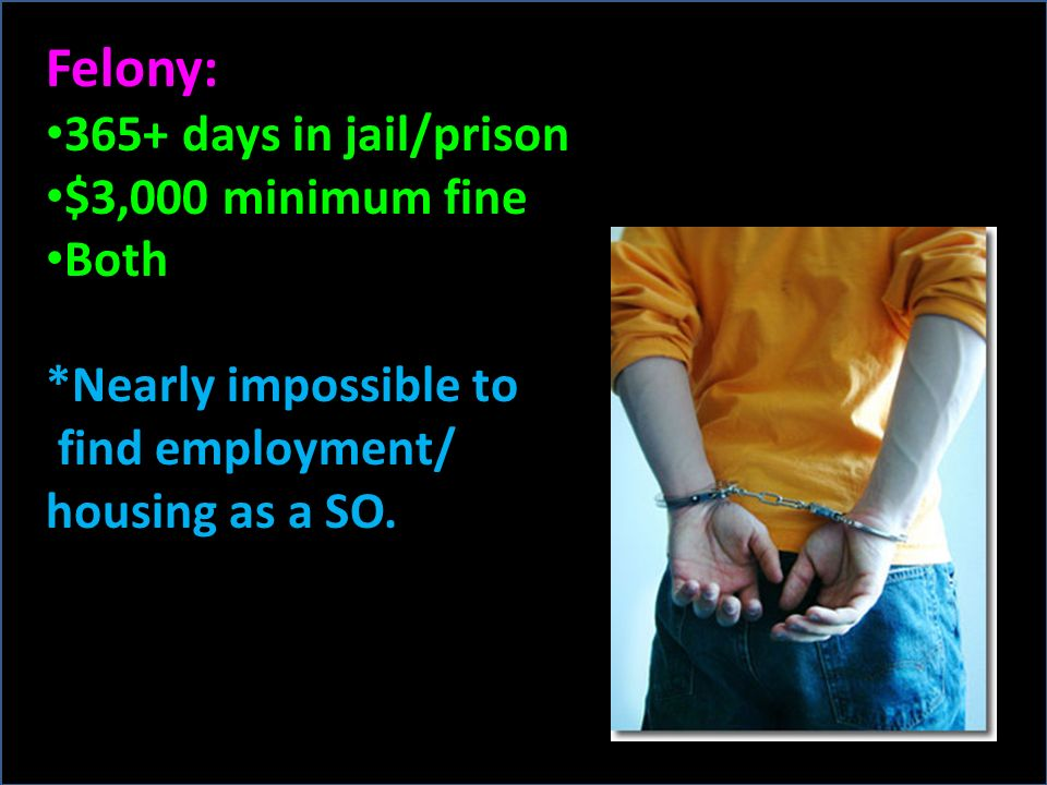 Felony: 365+ days in jail/prison $3,000 minimum fine Both *Nearly impossible to find employment/ housing as a SO.