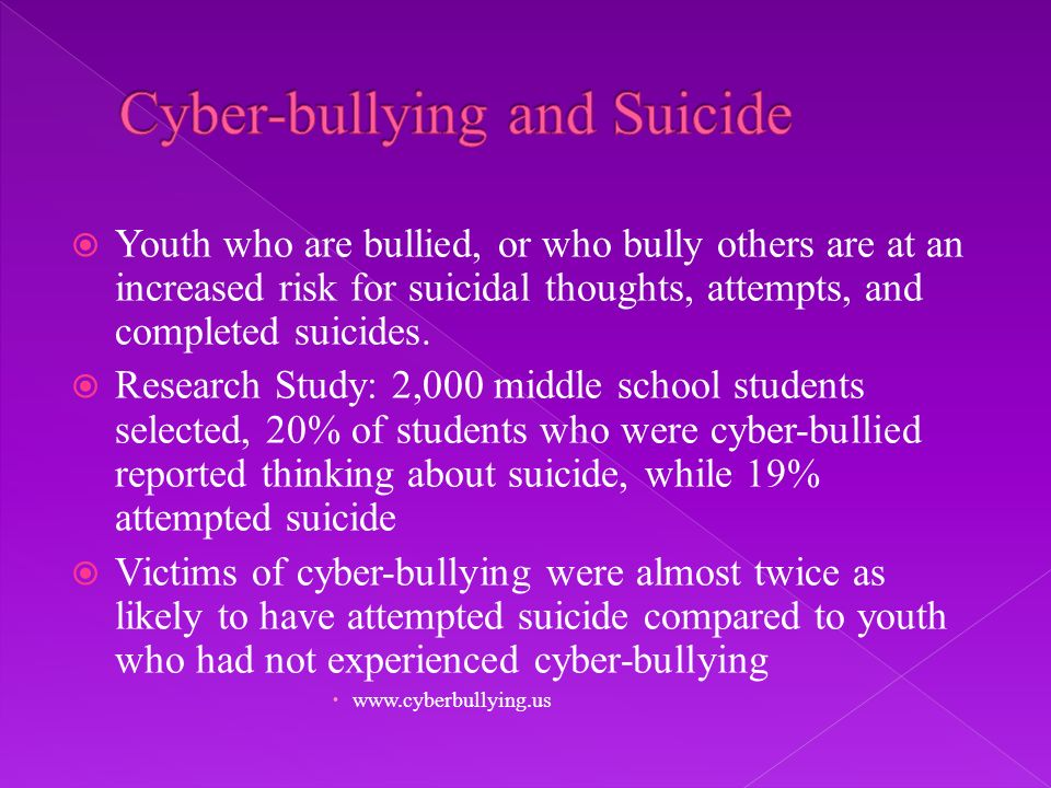 Youth who are bullied, or who bully others are at an increased risk for suicidal thoughts, attempts, and completed suicides.